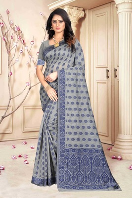 Blue Woven Kanjivaram Silk Saree With Blouse