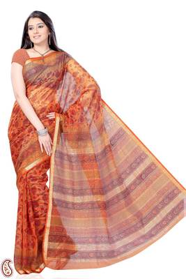 Deep Carrot Orange Block Print Cotton Silk Sari