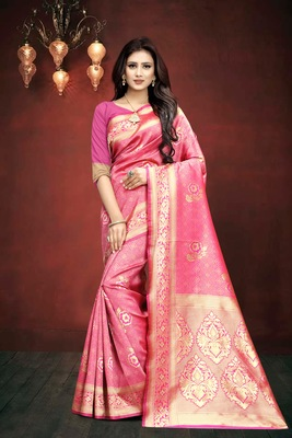Pink Woven Kanjivaram Silk Saree With Blouse