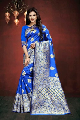 Royal Blue Woven Kanjivaram Silk Saree With Blouse