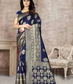 Buy Navy Blue Woven Kanjivaram Silk Saree With Blouse