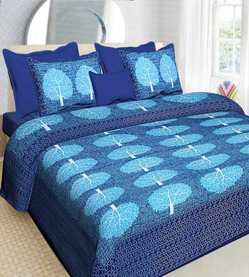 100% Cotton Traditional Jaipuri Double bedsheet with Two Pillow Covers