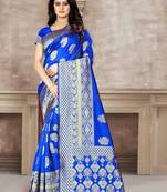Buy Royal Blue Woven Kanjivaram Silk Saree With Blouse