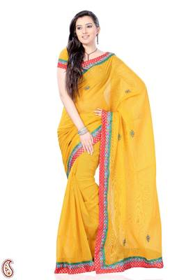 Sunglow Yellow Zari Brocade Kota Sari