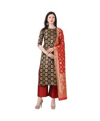 black woven cotton unstitched salwar with dupatta