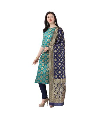 green woven cotton unstitched salwar with dupatta