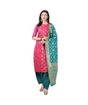 magenta woven cotton unstitched salwar with dupatta