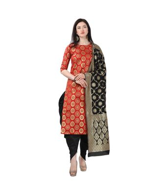 red woven cotton unstitched salwar with dupatta