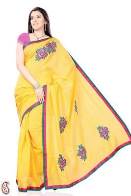 Golden Yellow Hand Embroidered Kota Sari