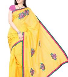 Buy Golden Yellow Hand Embroidered Kota Sari cotton-saree online