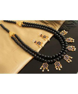 Beautiful Black Blue Designer Kemp Necklace Set