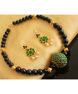 Beautiful Black Beads Green Rudhra Balls Designer Necklace Set