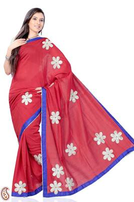 Amaranth Red Patch Work Kota Sari
