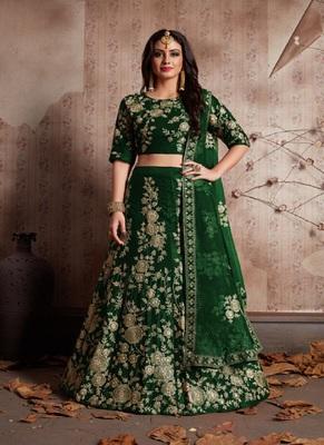 Green embroidered velvet semi stitched lehenga