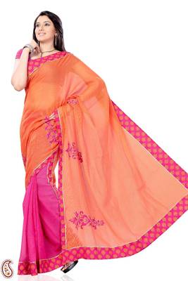 Half and Half Pink and Orange Kota Sari