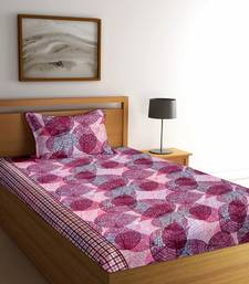 Purple floral print Poly Cotton bed sheets