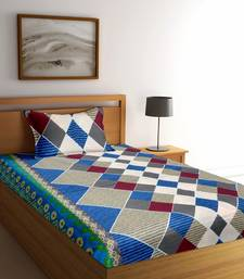 Blue striped Poly Cotton bed sheets