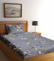 Grey floral print Poly Cotton bed sheets