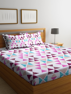 Purple striped Cotton bed sheets