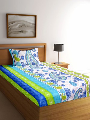 Blue floral print Poly Cotton bed sheets