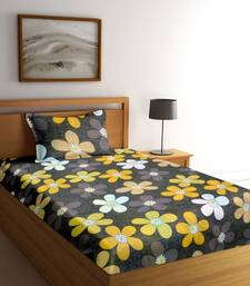 Brown floral print Poly Cotton bed sheets