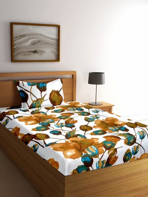 Green floral print Poly Cotton bed sheets