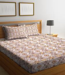 Brown striped Cotton bed sheets