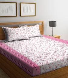 White floral print Cotton bed sheets