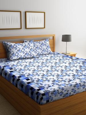 Blue floral print Cotton bed sheets