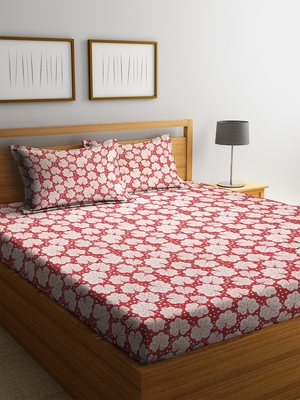 Red floral print Cotton bed sheets