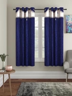 Emboss Polyester Window Set of 2 Navy Blue