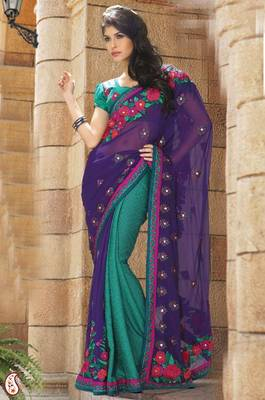 Purple and Teal Faux Georgette and Jacquard Saree With Blouse