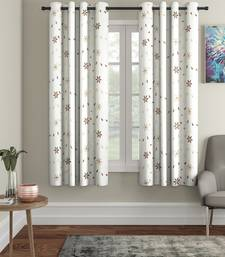 Kniting Embroidery White Polyester Window Set of 2