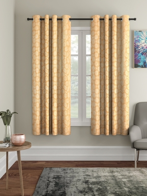 Penited Window Yellow Set of 2 Curtain