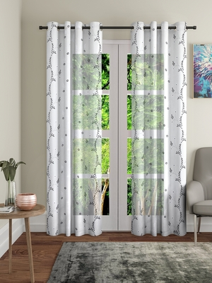 Share Embroidery White Polyester Door Set of 2