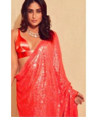 red sequins Sana Silk Partywear bollywood saree with blouse