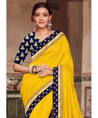 yellow Chanderi Silk Partywear Bollywood saree with blouse