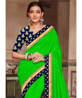 green Chanderi Silk Partywear Bollywood saree with blouse