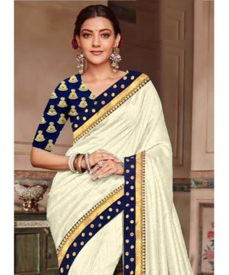 cream Chanderi Silk Partywear Bollywood saree with blouse