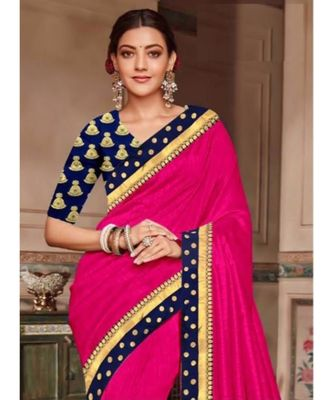 pink Chanderi Silk Partywear Bollywood saree with blouse