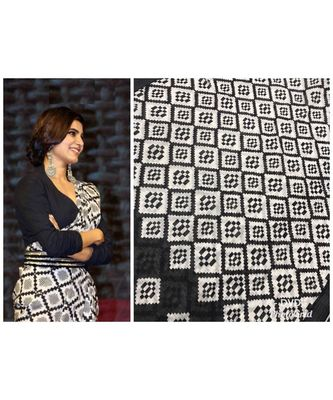 black Digital printed Linen partywear Bollywood saree with blouse