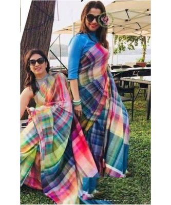 multicolor Digital printed Linen partywear Bollywood saree with blouse