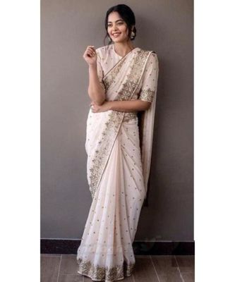 cream Embroidery georgette partywear Bollywood saree with blouse