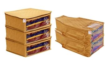 atorakushon® Fabric Saree Cover Garments Cover Bag Clothes Storage Wardrobe Organiser Set of 5 (Gold)