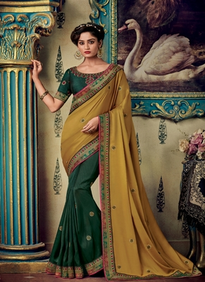 Mustard embroidered fancy fabric saree with blouse
