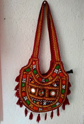 Multicolored Real Mirror Worked Banjara Bag With Hanging Tassels