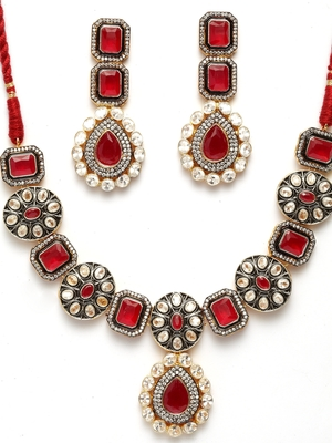 Red cubic zirconia necklace-sets