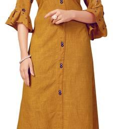 Brown embroidered rayon kurtas-and-kurtis