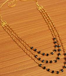 Black Crystal & Gold Bead Necklace