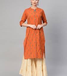 Women Orange A-Line Rayon Mirror Embroidery Mandarin Collar Long Kurta